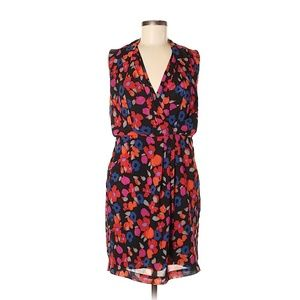 Dalia Black Red Coral Floral Dress Sheath